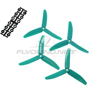 "HQProp 3 Blade 5""x4x3T (12.7cm) Propeller Turquoise Skitzo Edition - 4 pcs, Glass reinforced"